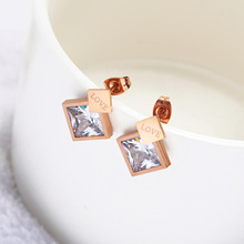 women accessories novelty earrings Stud rose gold Christmas stainless steel personalized love