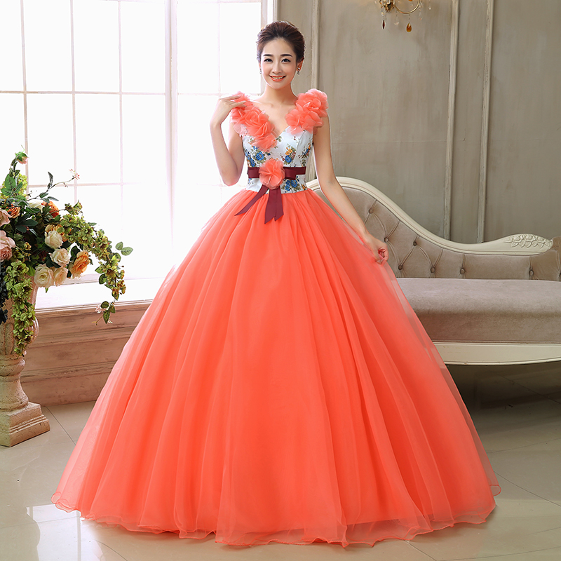 New Fashioned Ball Gowns V Neck Girls Party Gowns Tulle Lace Beaded Orange Quinceanera Dresses Vestido de debutante-in Quinceanera Dresses from Weddings & Events    1