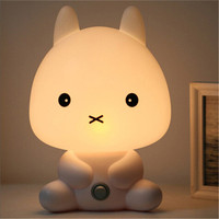 NEW EU Plug Baby Bedroom Lamps Panda Rabbit Dog Bear Cartoon Night Light PVC Plastic Sleeping