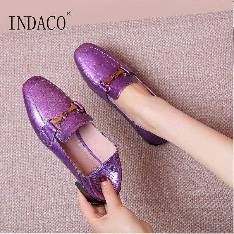 2019 Women Leather Flat Shoes Comfortable Brogue Casual Shoes 2 5cm Big Size 34 42 Women