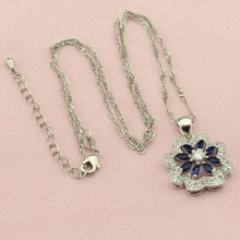 Women Blue Cubic Zirconia Silver Color Wedding Jewelry Sets Earrings Necklace Four Colors Stone Ring Bracelet Free Jewellry Box