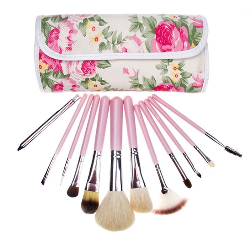 12Pcs Travel Cosmetic Brushes Makeup Artist Bag Brushes Organizer Cosmetic Makeup Brush Set Kit + Bag EE4  12 pcs cosmetic pu brush bag horsehair makeup brushes set