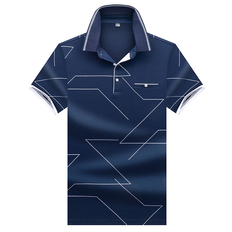 New Men's Polo Shirts Short Sleeve 2019 Summer Male Fashion Printing Casual Polo Shirt Men Brand Clothing Slim Fat 3XL AE8308