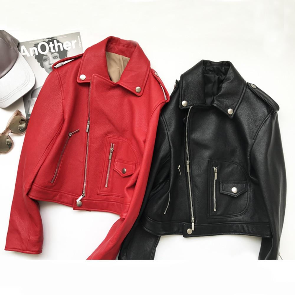 EIFURKOP Italian Goat Leather Short Slim Red Locomotive Coat with Collapsed Shoulders Genuine Natural Sheepskin Leather Jacket