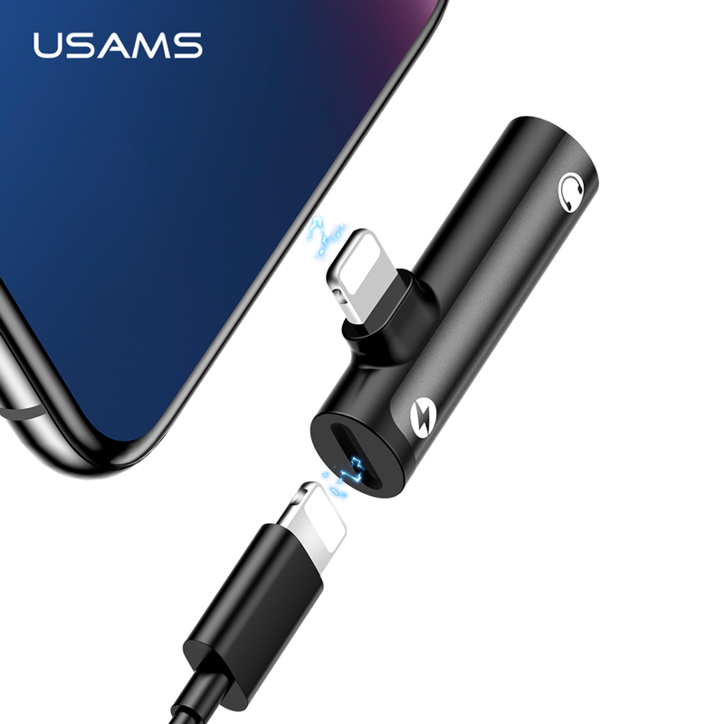 USAMS Lighting To 3.5mm Audio Adapter Earphone Headphone Dual Lighting Charging Adapter USB Cable For IPhone 8 X Cable Adapter
