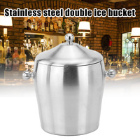 Stainless Steel ices Bucket Double Layer Cool for Champagne Wine Wedding Party P7Ding