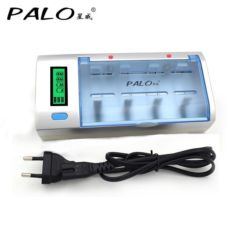 C906W Multi uso 4 ranuras LCD cargador de batería para baterías Nicd de Nimh AA/AAA/SC/C/ d/9 V batería recargable