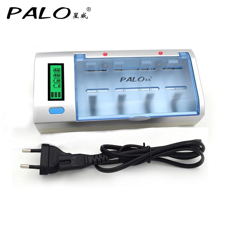 C906W Multi uso 4 ranuras pantalla LCD cargador de batería para Nimh Nicd AA/AAA/SC/C/ d/batería recargable de 9 V