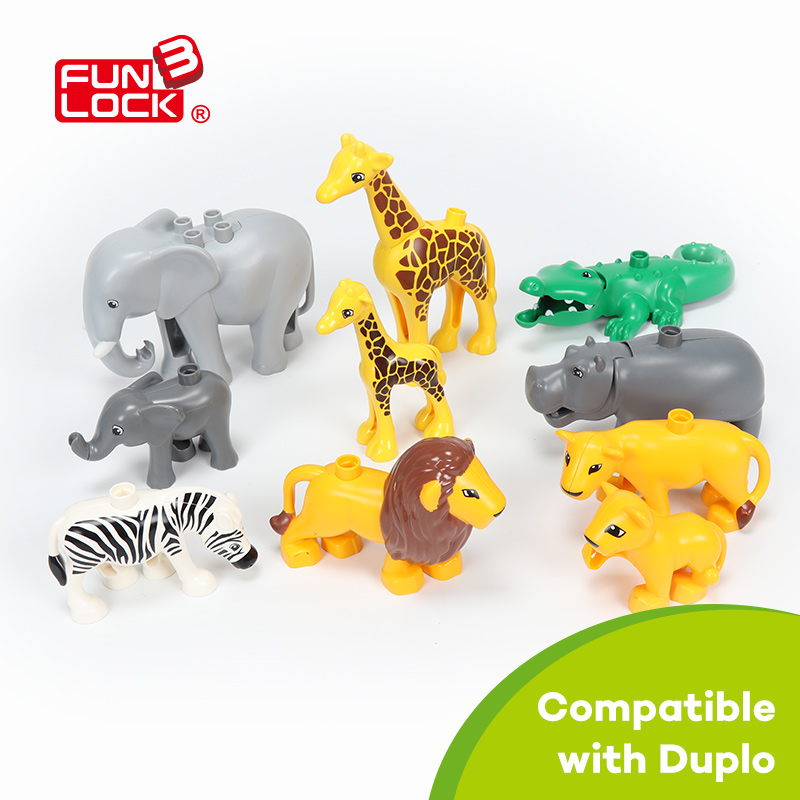 Funlock Duplo Blocks Toys Animals on Prairie 10pcs in bag Creative Assemble Accessories Bricks For Kids Gifts for Children funlock duplo blocks toys farm animal figures bunny cat dog cow pony pig sheep rooster educational toys for kids gifts