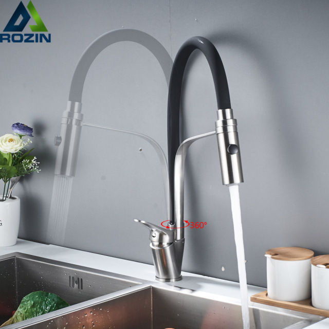 Brushed Nickel Swivel Spout Kitchen Sink Faucet Pull Down Sprayer