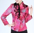 Hot Pink Spring Chinese Women Silk Satin Jacket Coat Flowers M L XL XXXL Free Shipping 2321-1
