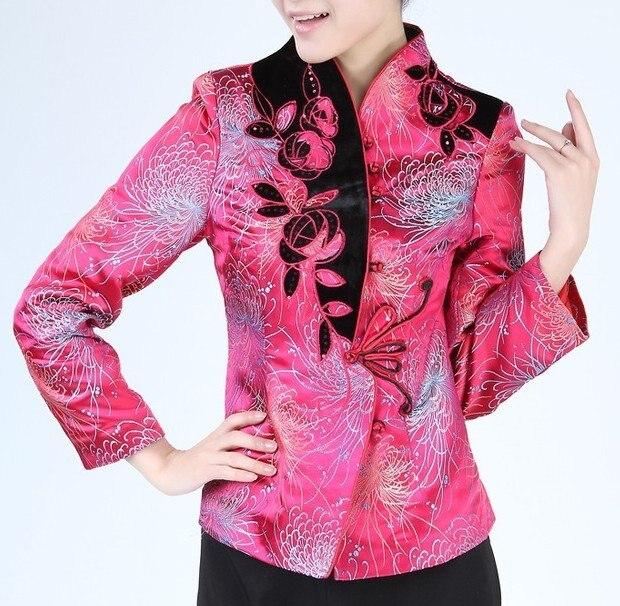 Hot pink resorte de las mujeres chinas de seda satinada capa de la chaqueta flor