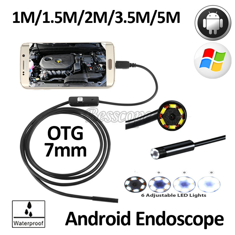7mm Lens Android External USB Endoscope Camera 1M 2M 3.5M 5M Flexible Snake USB Camera Pipe Inspection Android Borescope Camera hd720p wifi iphone ios endoscope camera 8mm lens 5m 3 5m 2m 1m flexible snake usb inspection android borescope laptop camera