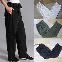 Top Quality Cotton Chinese Traditional Men Kung Fu Pants Wu Shu Tai Chi Elastic Waist Loose