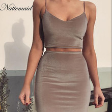 NATTEMAID 2018 mini velvet Dresses Women 2 pieces Pink bodycon Dess Casual short vestidos High quality matieral