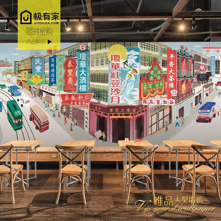 a779a1e24 العرف hongkong شارع المشهد الحنين البناء 3d جدارية 3d مخصص جدارية خلفيات  فندق مطعم مقهى متجر خلفيات