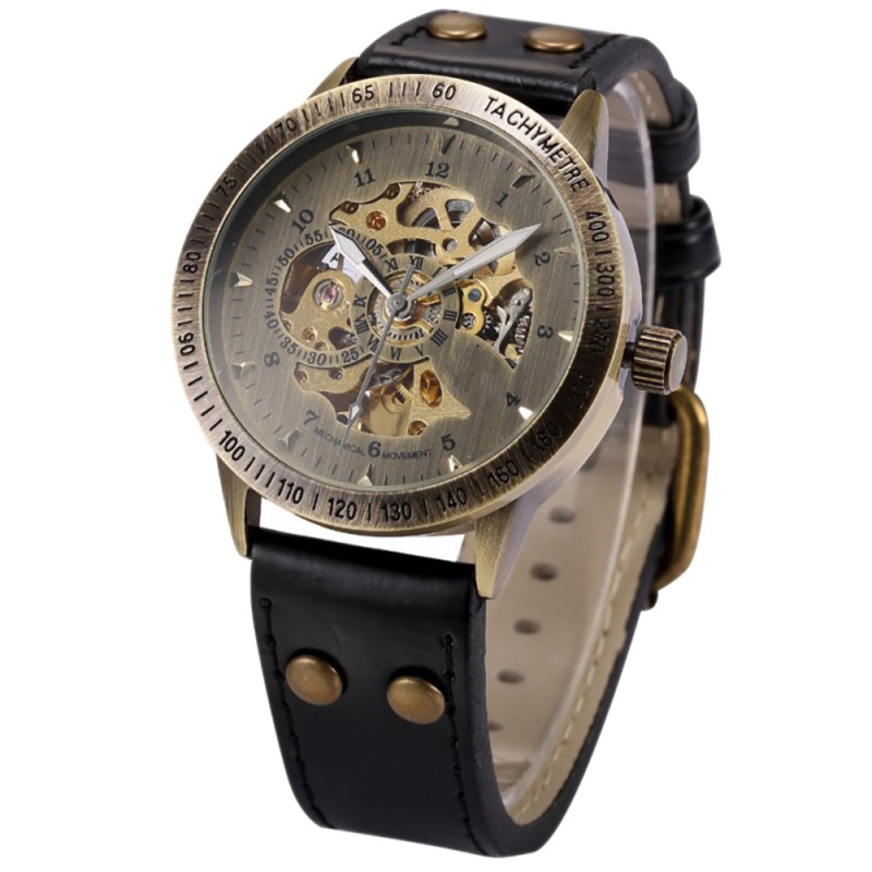 Fashion Men Bronze Antique Leather Self Widing Wrist Watch Steampunk Skeleton Power Automatic Male Mechanical Watches retro hollow skeleton automatic mechanical watches men s steampunk bronze leather brand unique self wind mechanical wristwatches