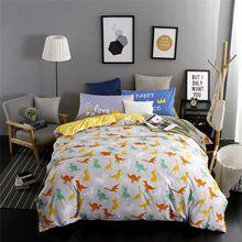 Bedding Dinosaur Pattern 3pcs Family Bed Sheet Duvet Cover Pillowcase Queen King Size Room