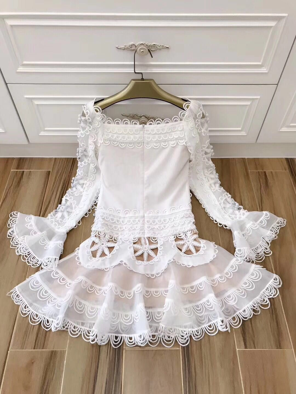 Slash Black Femmes Flare Dos white Évider Longues Manches Sexy Brodé Nu Nouveau Getsring Blanc Cou Robe Robes Dentelle qxEapa