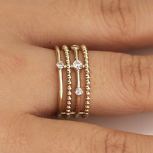 Huitan Charms Simple Women Ring With Bead Shaped Daily Wearable Accessory For Office Lady Luxury Gold Color CZ Setting