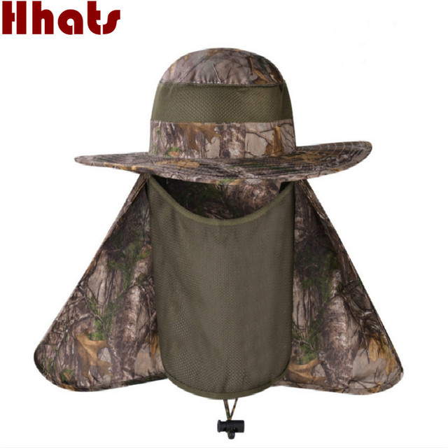 bff5d659d85  which in shower wide brim camouflage fishing hat with neck face veil  protection bionic summer bucket hat with string women men