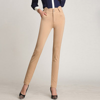 New Summer Women Pants Capris Woman Solid Mid Waist Slimming Capris Pants Cotton Blended Skinny Penci Pants Female Trouser Black