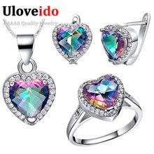Uloveido rainbow crystal joyería nupcial de la boda del corazón de plata pendientes anillos collar mujeres conjunto de joyería de fantasía 49% off t481
