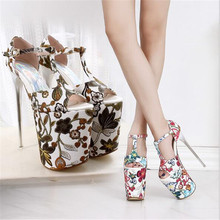 Summer new sandals with 20 cm thin water platform 11 cm flower ethnic wind  large size b03cf127c7d0