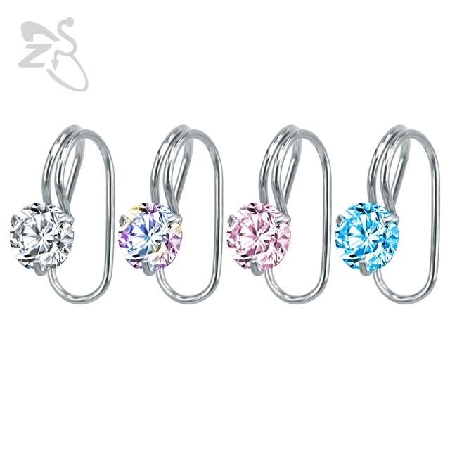 Round Crystal Stud Earrings Ear Cuff Zirconia Earing Stainless Steel Clip Earring Without Piercing Women Wrap