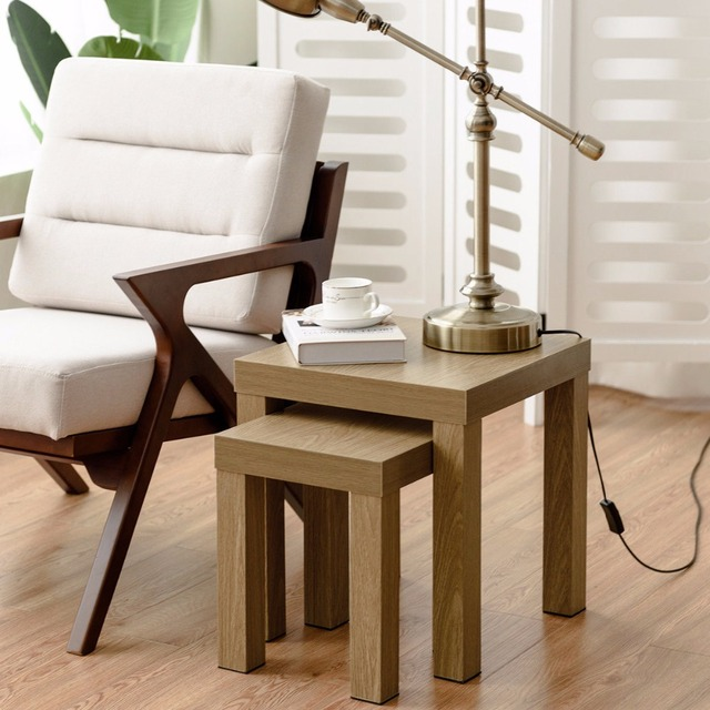 Giantex Set Of 2 Nesting Coffee End Table Side Tables Living Room Home Decor Wood Color