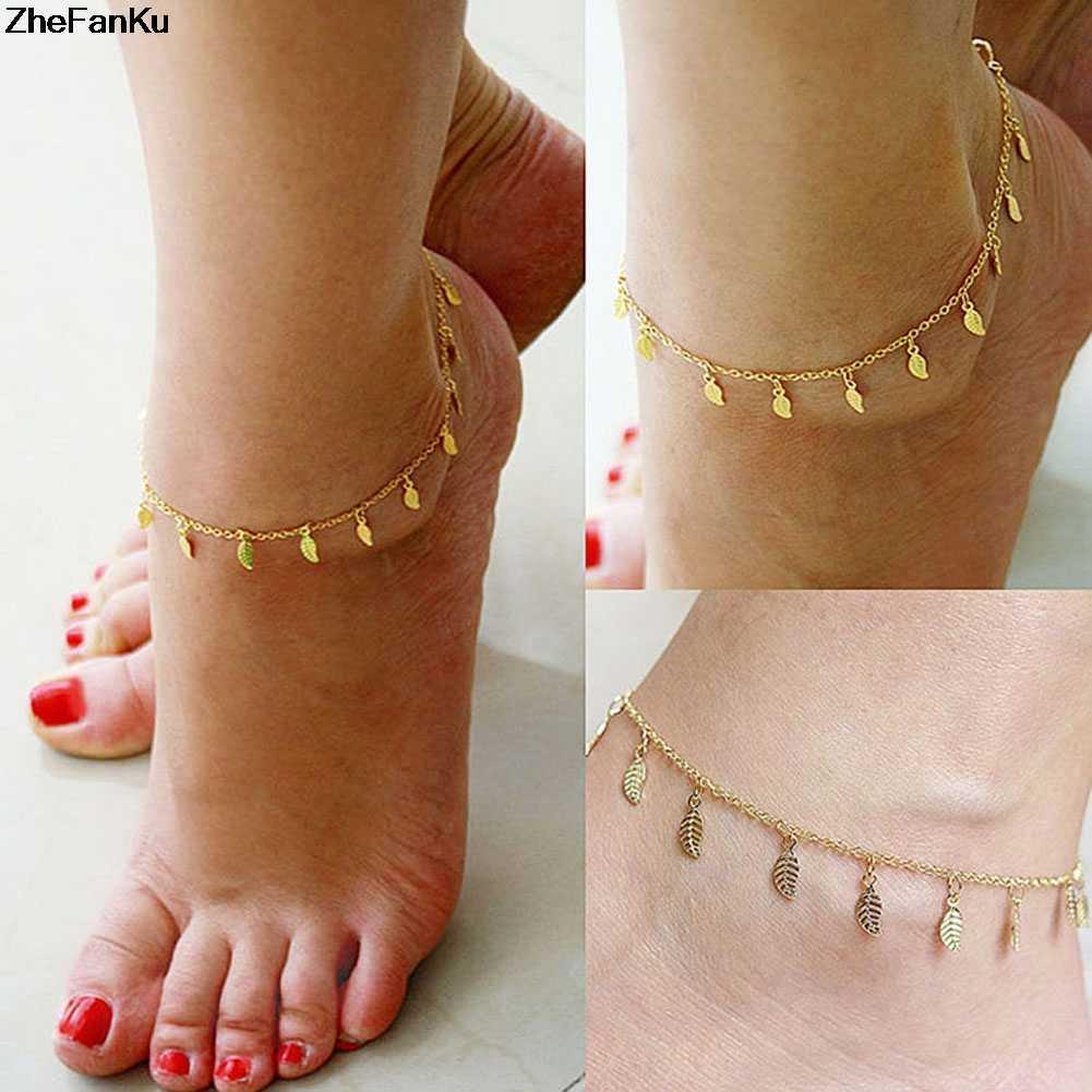 ファッションビーチダンスウェディングジュエリー葉形のタッセルアンクレット足チェーンカラーゴールドカラー