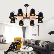 Modern LED Chandelier With Iron Lampshade For Living Room Nordic  Wooden Lustres Wood Foyer Lighting