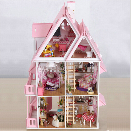 Doll house with furniture Handmade wooden house diy birthday gifts 3D puzzles for adults and lovers dream house children coeus 3d wooden puzzle the beautiful world the wedding chapel educational games for kids 3d puzzles for adults