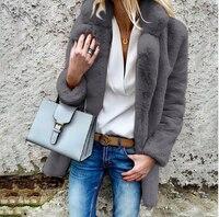Winter Women's Warm Solid Color Coat Jacket Long sleeved Lapel Women's Fluffy Coat Cardigan Woolen Coat Women's Clothing 0462
