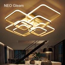 NEO Gleam прямоугольные акриловые Алюминиевые Современные светодиодные потолочные светильники для гостиной, спальни, AC85-265V, белые потолочные светильники