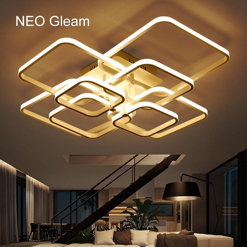 NEO Lueur Acrylique Rectangle En Aluminium Moderne Led plafonniers pour salon chambre AC85-265V Blanc Plafonnier Luminaires