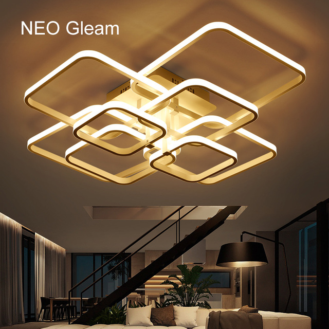 Gleam Moderne Salon Acrylique Aluminium Plafond Leds À Ac85 Néo Blanc Pour Plafonniers Chambre Luminaires Rectangle Lumières 265v D2IEHW9