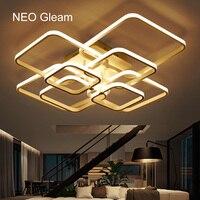 NEO Gleam Rectangle Acrylic Aluminum Modern Led ceiling lights for living room bedroom AC85 265V White Ceiling Lamp Fixtures