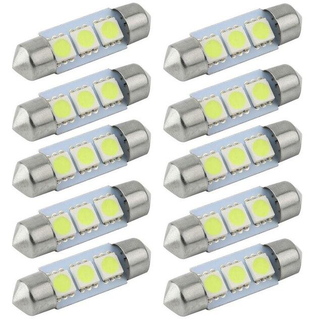 CQD-Luz 10 PCS 31mm 36mm 39mm 41mm 12 V C5W Branco Frio 3 SMD LED Festoon Interior Dome Lâmpada de Luz Para carng comunidade