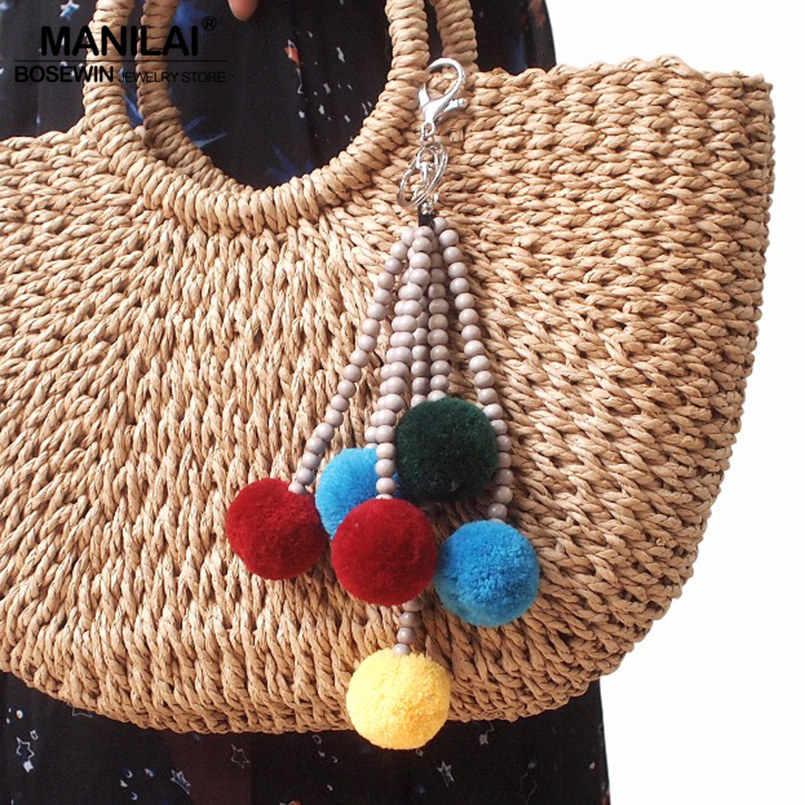 Manilai boêmio artesanal de madeira frisado chaveiro saco longo pingentes acessórios multicolorido pompom bola charme chaveiros para mulher