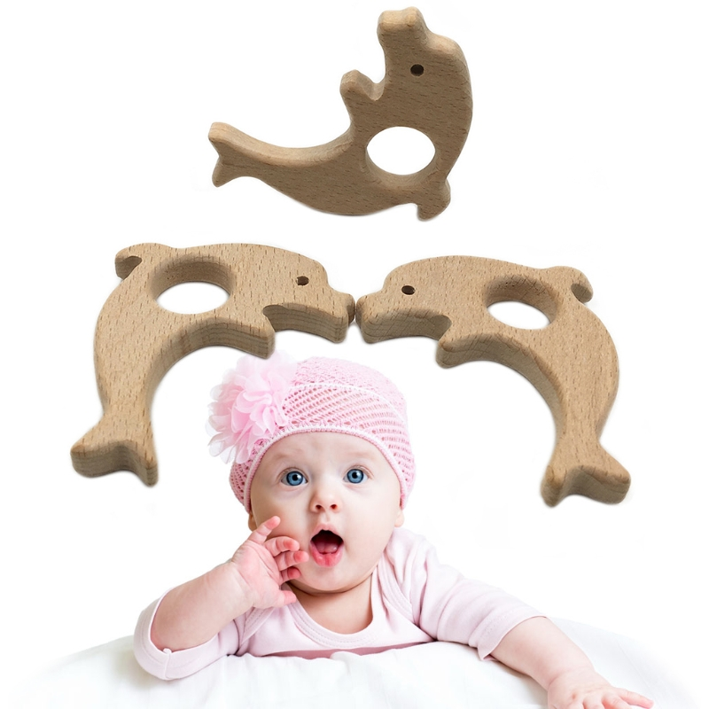 NEW Baby Teether Pacifier Animal Dolphin Wooden Teething Nursing Chew Necklace Toys baby accessories