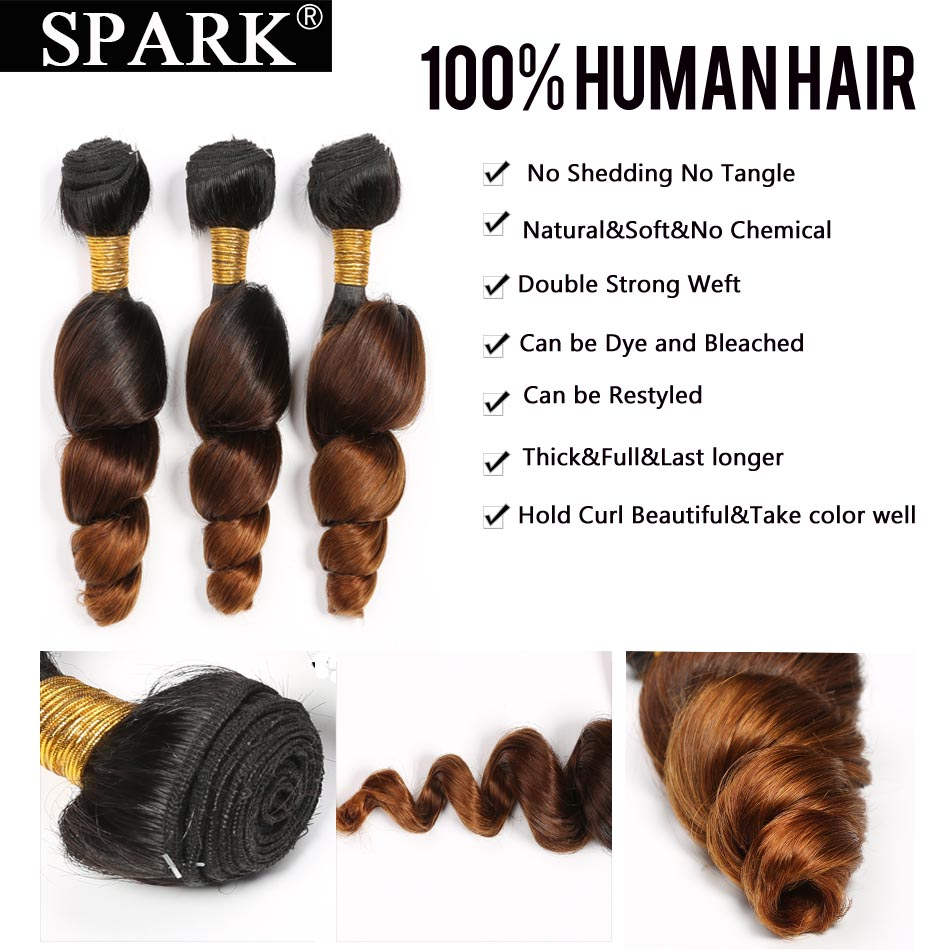 Spark Ombre Brazilian Loose Wave Bundles with Closure Free Part Remy Hair Extension 1B/4/30 Human Hair Bundle with Lace Closure 3