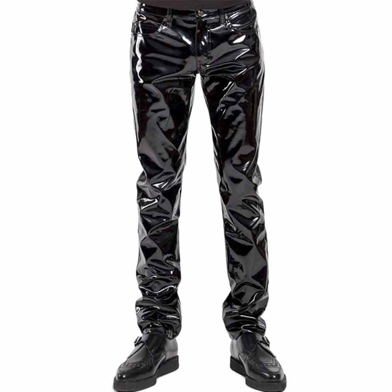 Punk Gothic Man Pants Sexy Wetlook Latex Vinyl Zipper Trousers Men Black Faux Leather Pole Dance Gay Fetish Pantalones Hombre