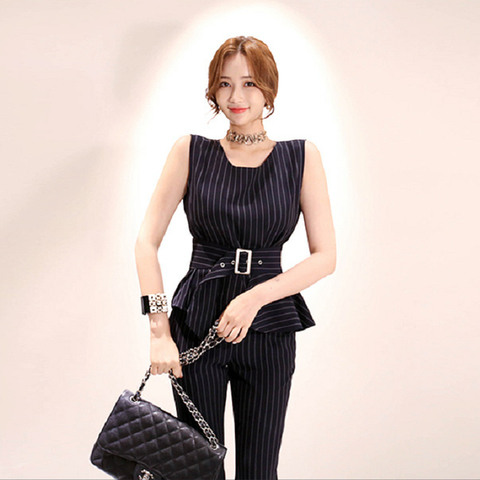 Elegant Striped Women Suits Two Piece Set 2019 Spring Summer Office Ladies Tops and pant suit  sets whit belt Multan