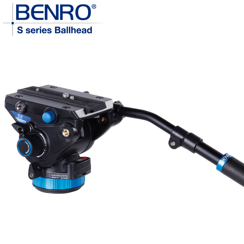 bilder für BENRO S8 Video Kopf S Serie Professionelle Video Kopf QR13 Schnellwechselplatte Für HDV Fotografen Max Laden 8 kg