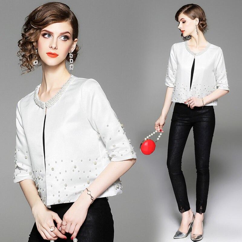 2019 Autumn Elegant Beading Pearls   Jacket   Spring Office   Basic     Jacket   Women Half Sleeve White Short   Jackets   Coats Casaco Feminina