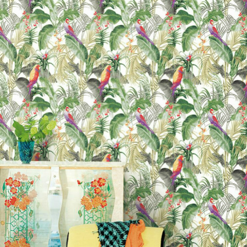 Green Banana Leaf Tropical Wallpaper Modern Art Floral and Birds Chinoiserie Wall Paper Roll Wall Decor wall hanging art decor sunshine floral print tapestry