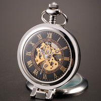 2016 New Unique Men Magnifier Skeleton Vintage Mechanical Pocket Watch With Chain For Gift