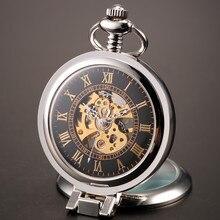 2016 Nuevos Hombres Únicos Lupa Vintage Skeleton Reloj de Bolsillo Mecánico con La Cadena para el regalo