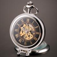2016 Nowy Unikalne Mężczyźni Skeleton Mechaniczny Zegarek Kieszonkowy Zabytkowe Lupa z Łańcucha na prezent